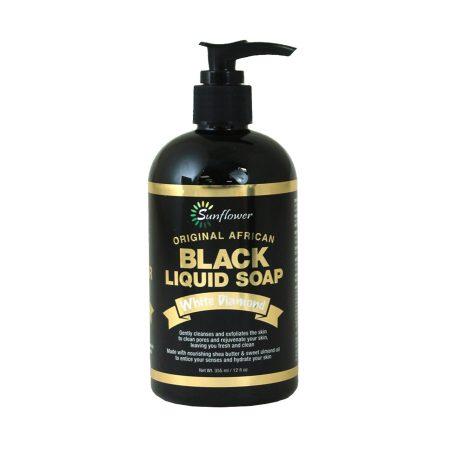 Sunflower Original African White Diamond Liquid Black Soap 12oz