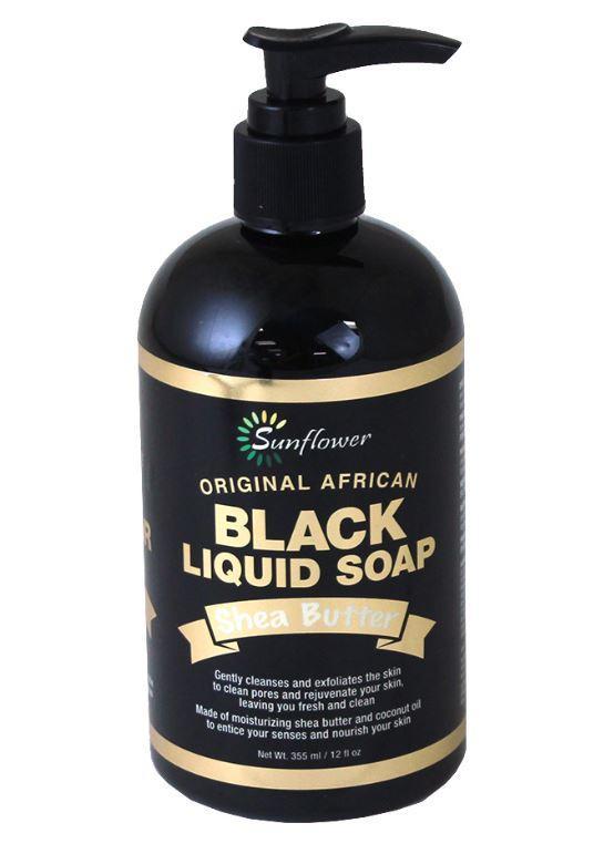 Sunflower Orginal African Shea Butter Liquid Black Soap 12oz