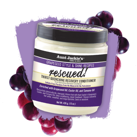 Aunt Jackies Grapeseed Style & Shine Rescued! Thirst Quenching Recovery Conditioner 15oz