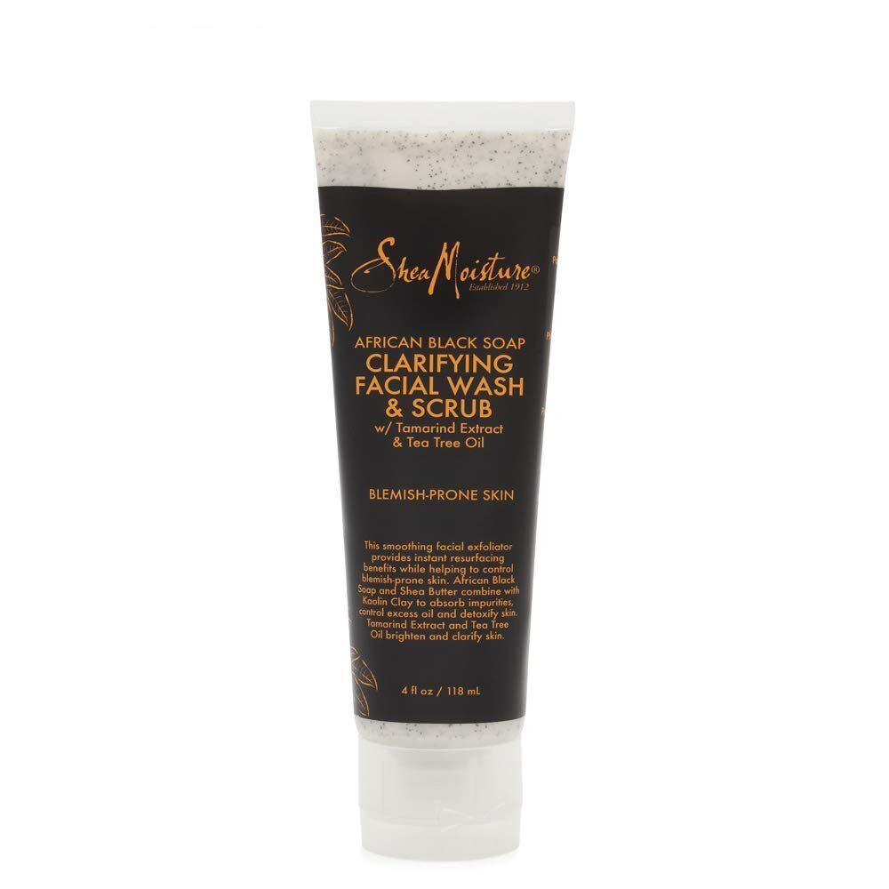 Shea Moisture African Black Soap  Clarifying Facial Wash & Scrub 4oz