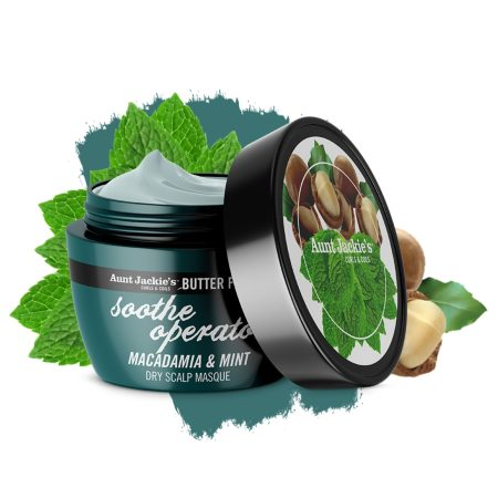 Aunt Jackies Butter Fusions Soothe Operator Macadamia & Mint Dry Scalp Conditioning Masque 8oz