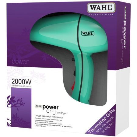 Wahl 2000w Powerdry Turquoise Blue Hairdryer