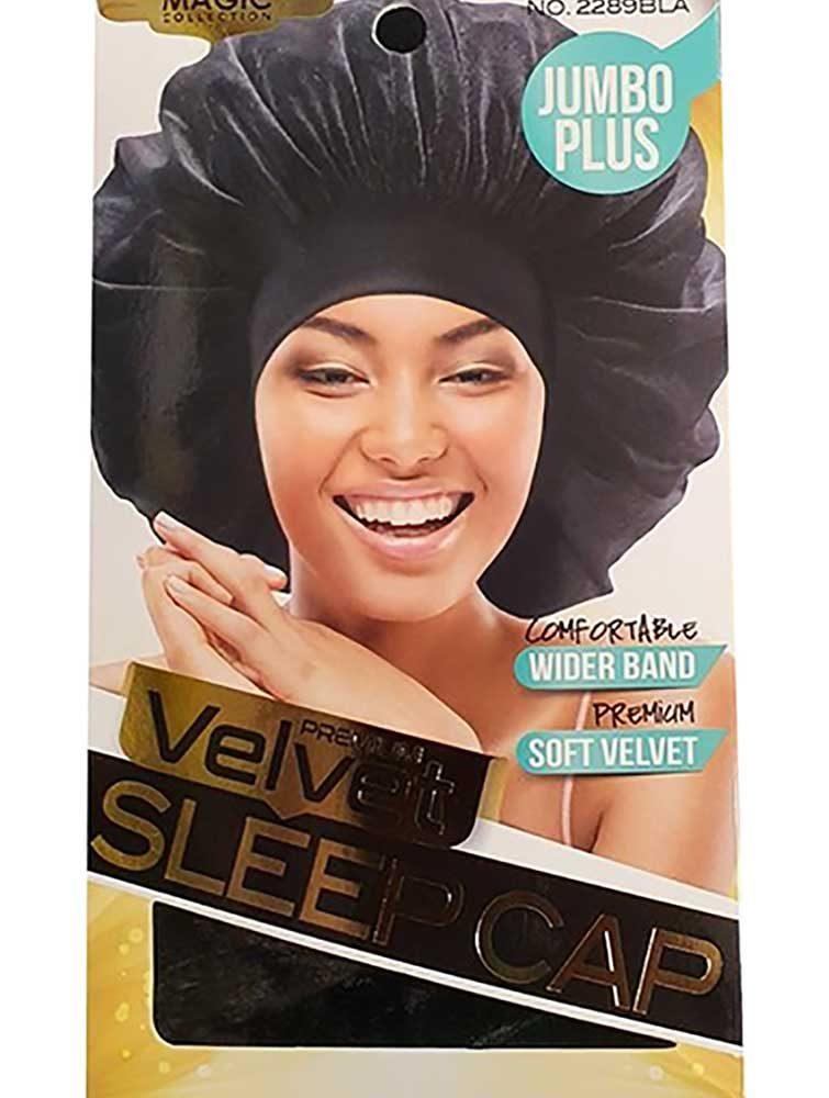2289BLA Black Velvet Jumbo Plus Sleep Cap