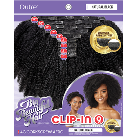 Outre Big Beautiful Hair Corkscrew Afro 10'' Human Hair Clip-In for Natural Hair